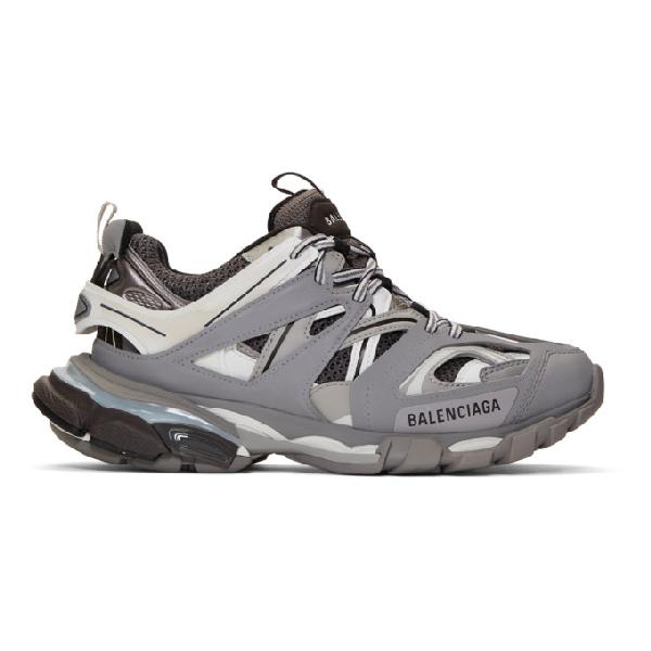 Balenciaga Track Nylon And Mesh Trainers In Grey