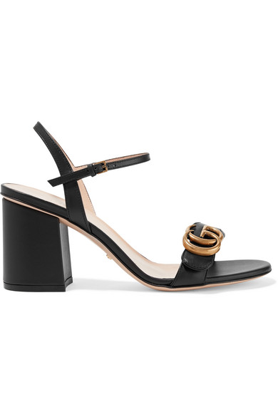 Gucci Marmont Logo-embellished Leather Sandals In Black