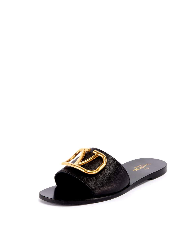 4c8a113f1 Valentino Vlogo Flat Leather Slide Sandals