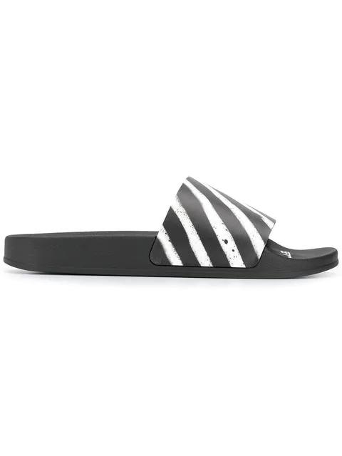 Off-white Diagonal Stripe Sliders - 黑色 In Black