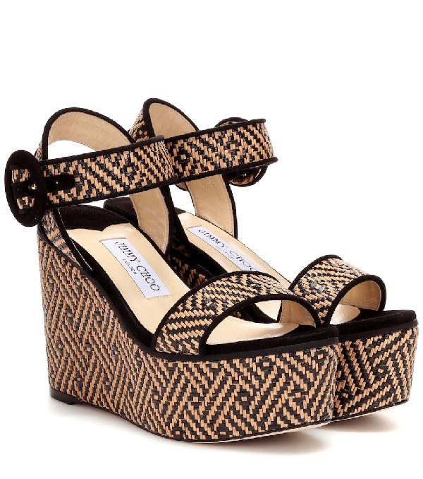 Jimmy Choo Abigail 100 Platform Wedge Sandals In Neutrals