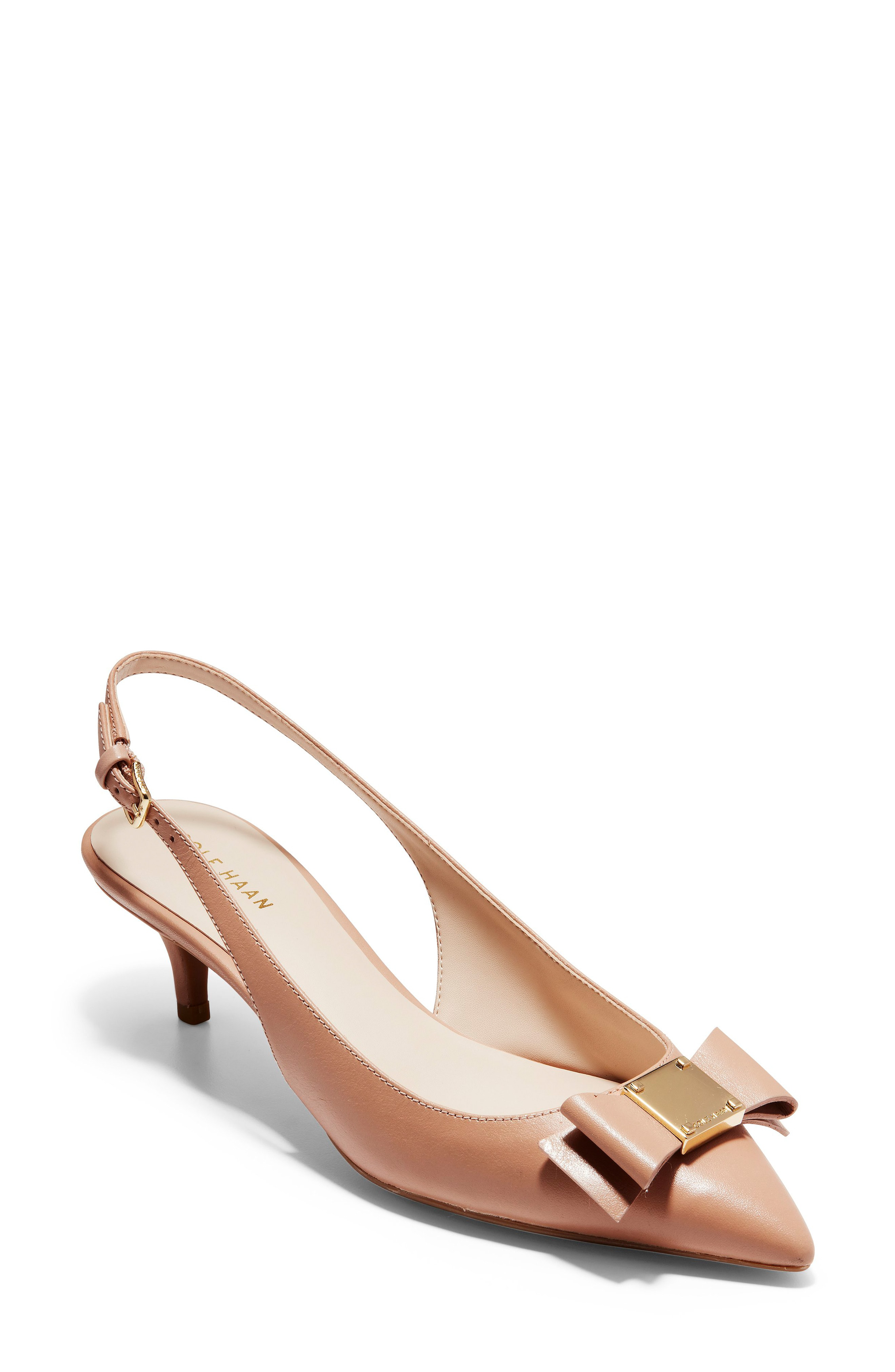 f8b456866b3 Cole Haan Tali Bow Slingback Pump In Nude Leather