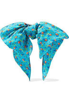 Alessandra Rich Woman Knotted Floral-print Crepe Hair Clip Turquoise In Blue