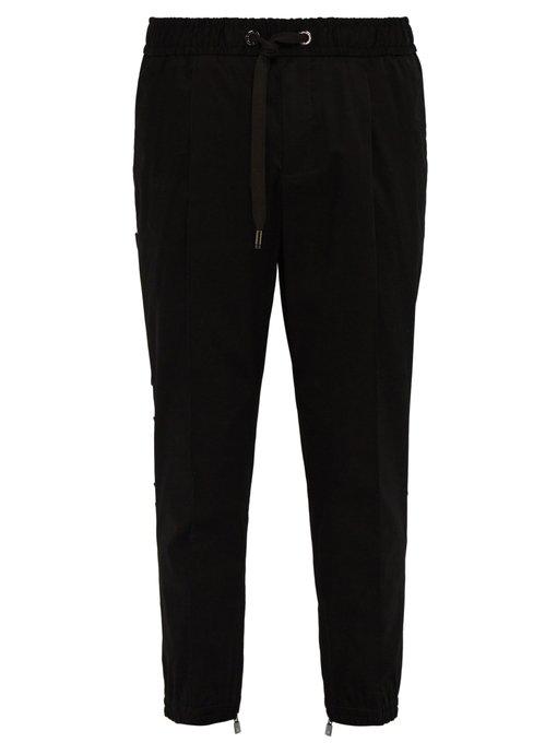 Dolce & Gabbana 3D Logo-Panel Tailored Track Pants In Black