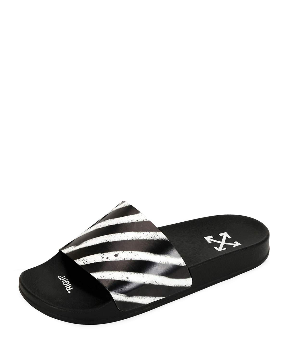 819e07c39264 Off-White Men s Spray-Stripe Pool Slide Sandals