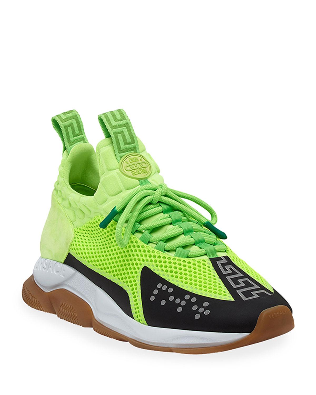 d84c2f1e Versace Men's Cross Chainer Neoprene & Mesh Sneakers In D5Pz Green ...