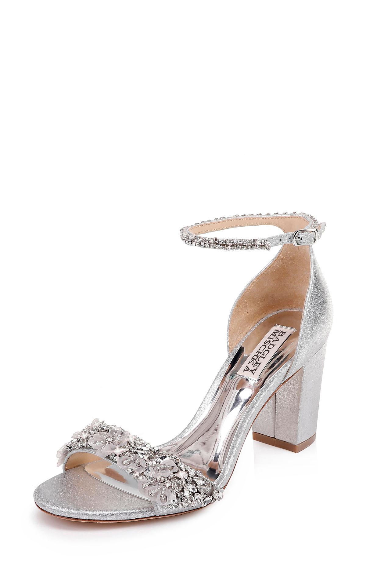 5da6c534087 Badgley Mischka Women s Finesse Ii Embellished Block Heel Sandals In Silver  Metallic Satin