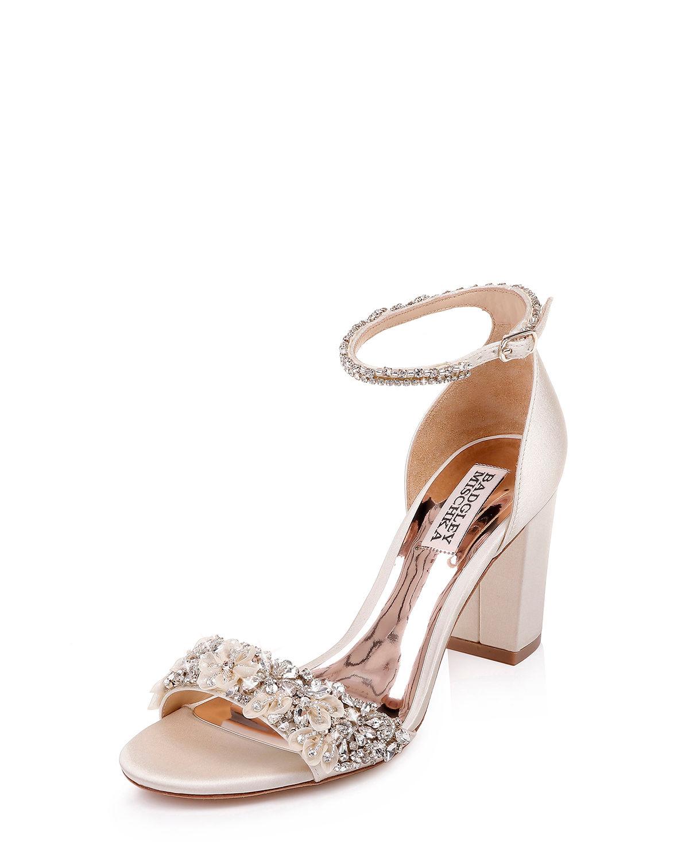 c0d48b6c525 Badgley Mischka Women S Finesse Embellished Block Heel Sandals In Ivory  Satin