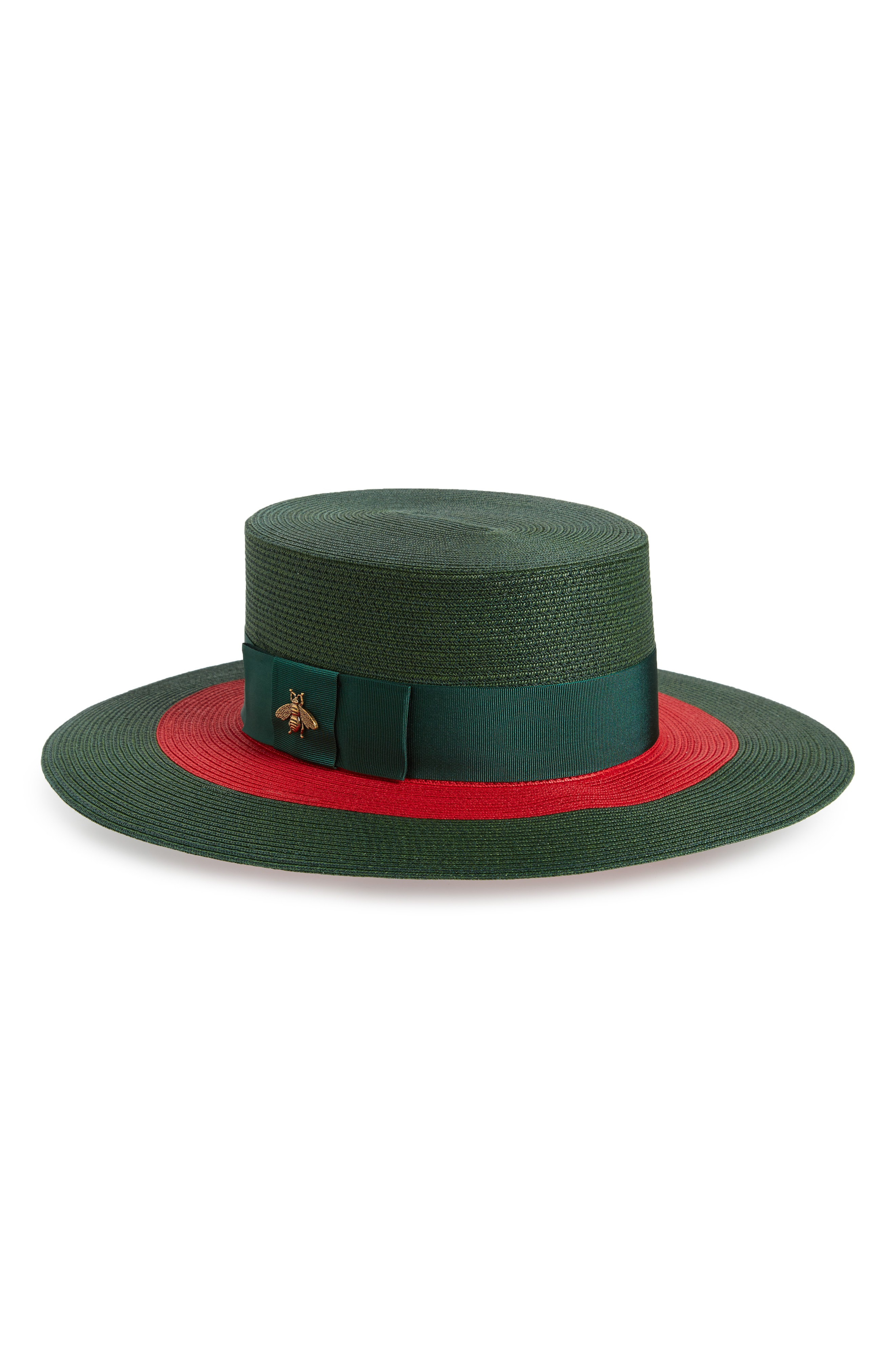 e719f059a768d Gucci Embellished Grosgrain-Trimmed Straw Hat In Green