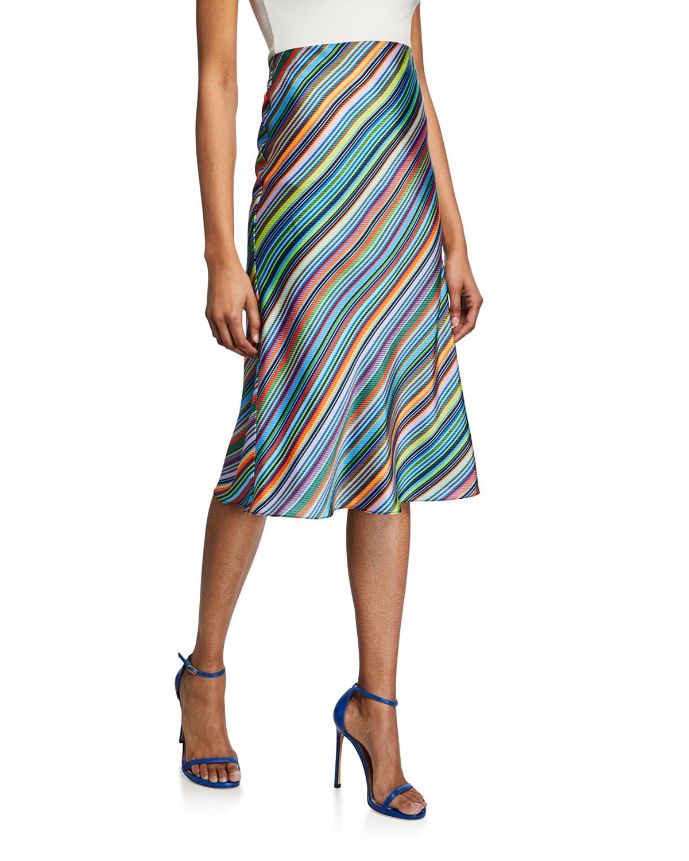 016a81141f6aaf Milly Striped Bias-Cut Satin Skirt In Multi Pattern