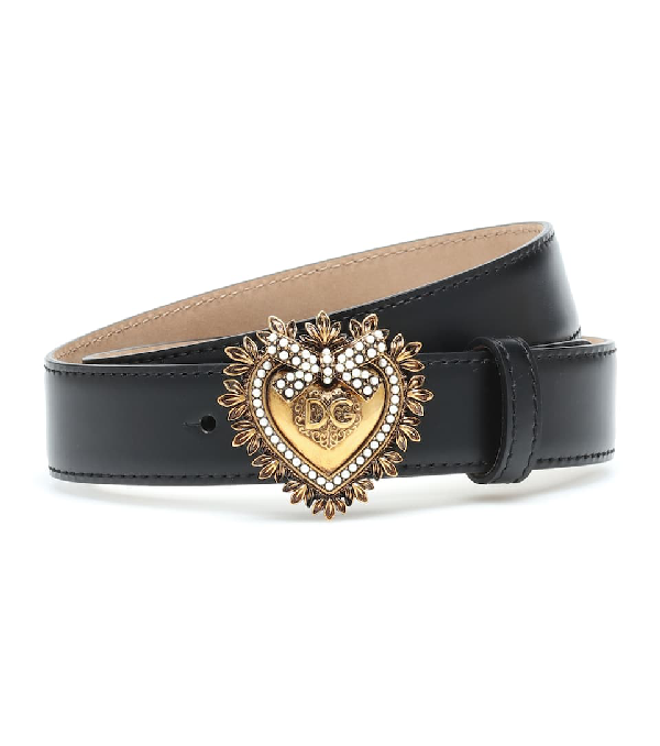 Dolce & Gabbana Devotion Faux Pearl-embellished Glossed-leather Belt In Black