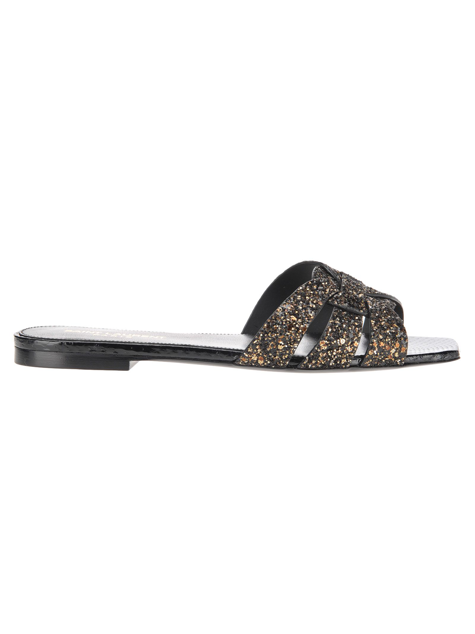 93deaf6ac4e Saint Laurent Tribute Flat Sandals In Glitter And Ayers In 1741 Nero/Glit Or