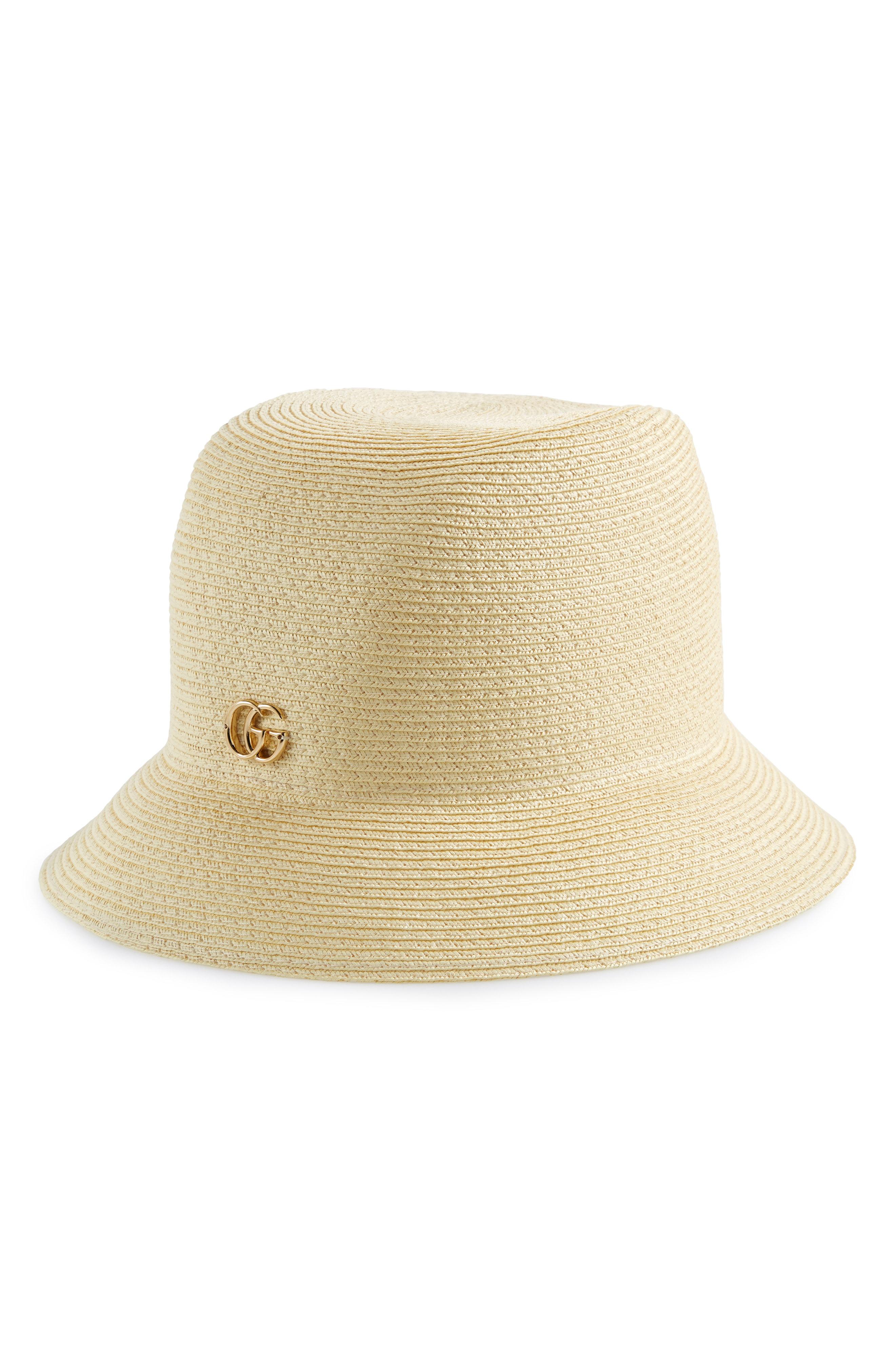 4b2668d8142 Gucci Wide Brim Woven Hat W  Double G Hardware In 9200 Beige