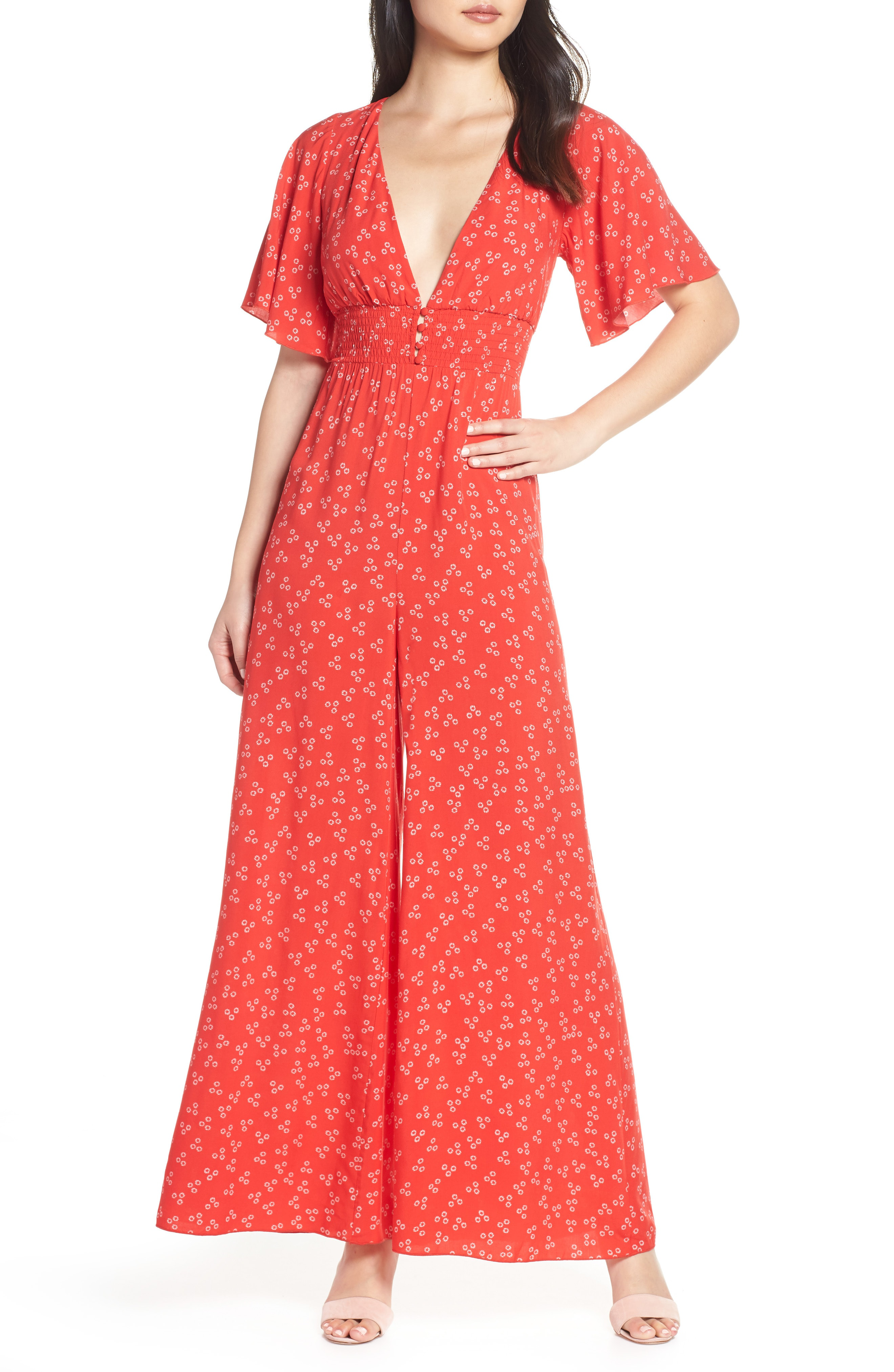 0d67be146f2 Finders Keepers Frida Wide-Leg Floral-Print Jumpsuit In Red Ditsy ...