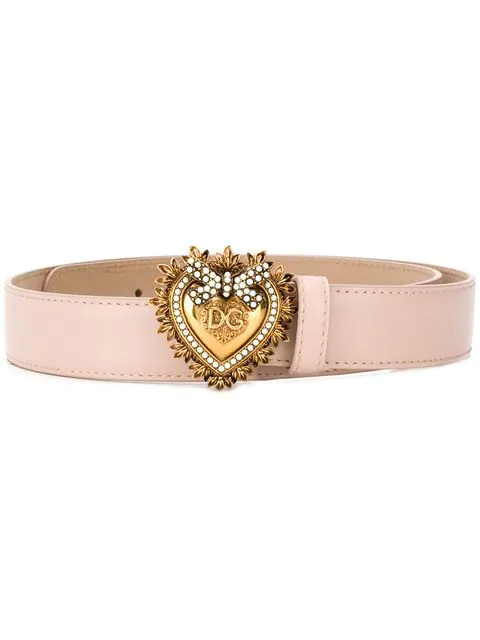 Dolce & Gabbana Devotion Logo Heart Buckle Leather Belt In 80412 Cipria
