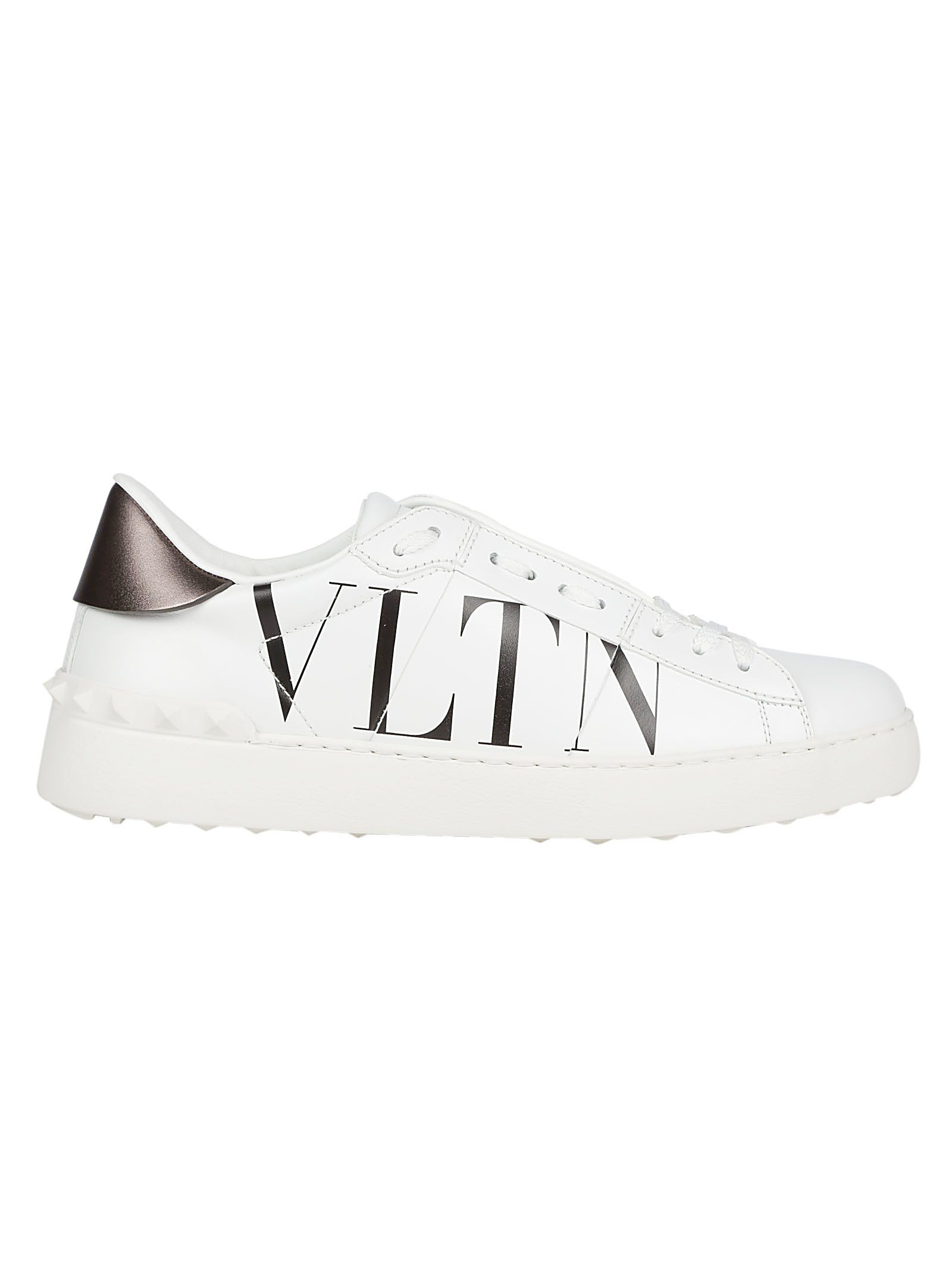 2a28f7d68ba5 Valentino Vltn Open-Laced Leather Low-Top Sneakers In White