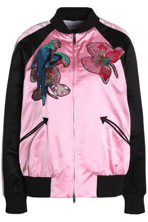 Valentino Tropical Embroidered Satin Moto Jacket In Multicoloured