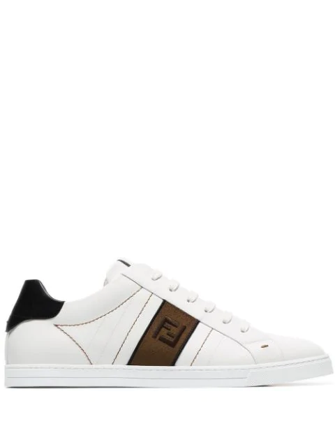 Fendi White Ff Motif Leather Low Top Sneakers - 白色 In White