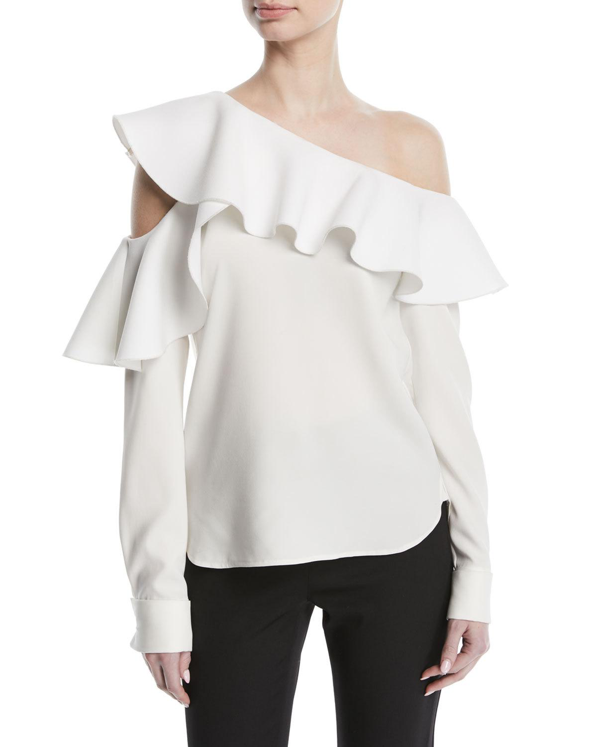 ec33d87388ae5 Oscar De La Renta Woman One-Shoulder Ruffled Stretch-Silk Blouse White