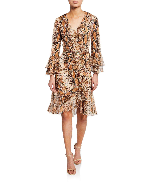 706c64e7361 Diane Von Furstenberg Carli Ruffled Snake-Print Silk-Jersey And Georgette Wrap  Dress In