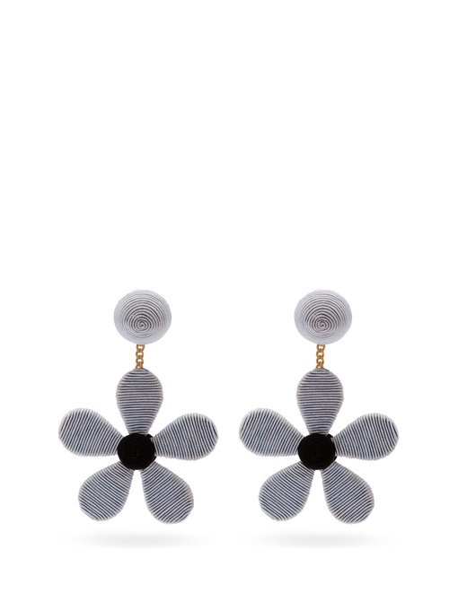 Rebecca De Ravenel Daisy Cord Earrings In Blue