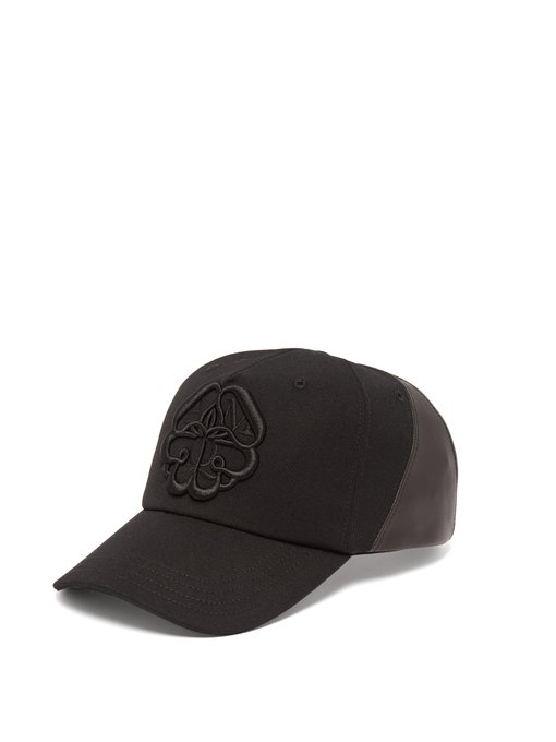 Alexander Mcqueen Logo-embroidered Leather-panelled Cotton Cap In Black