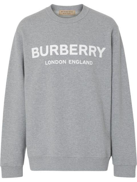 Burberry Logo-Print MÉLange Loopback Cotton-Jersey Sweatshirt In Pale Grey Melange