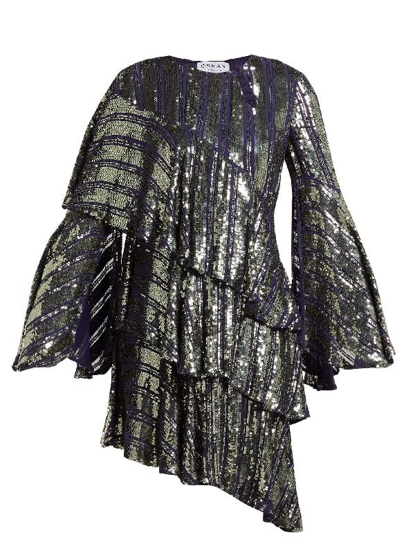 Osman Tina Sequin Asymmetric-tiered Dress In Dark Grey