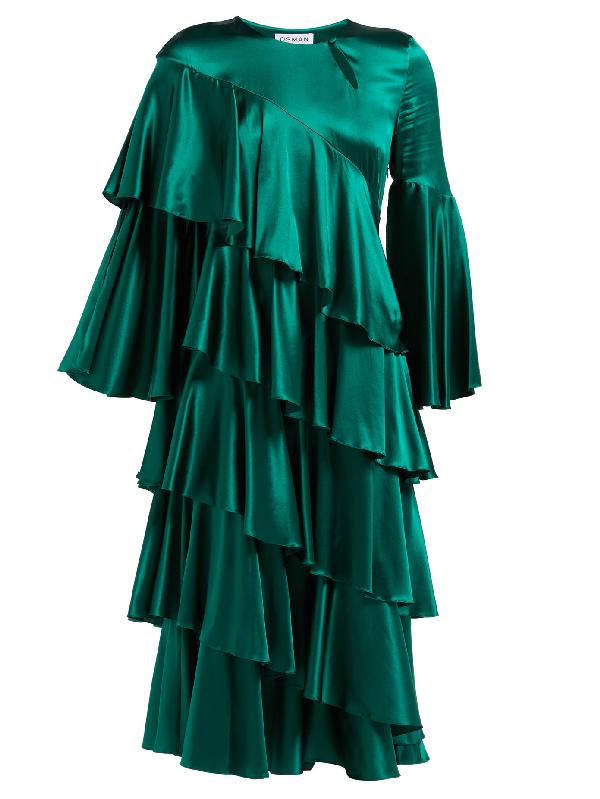 Osman Diaz Tiered Silk-blend Satin Dress In Green