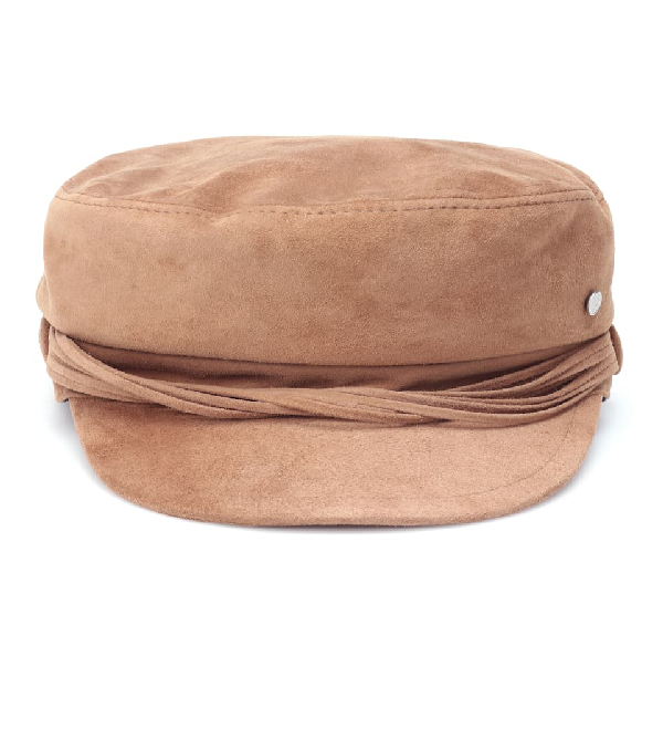 Maison Michel New Abby Leather Hat In Brown