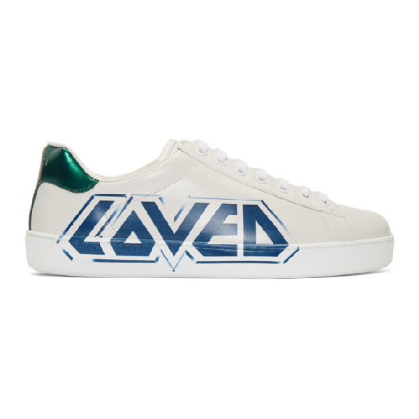 Gucci Ace Graffiti-Print Low-Top Trainers In White