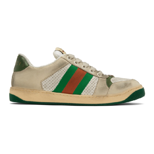 Gucci Screener Canvas-Trimmed Distressed Leather Sneakers In 9582 White