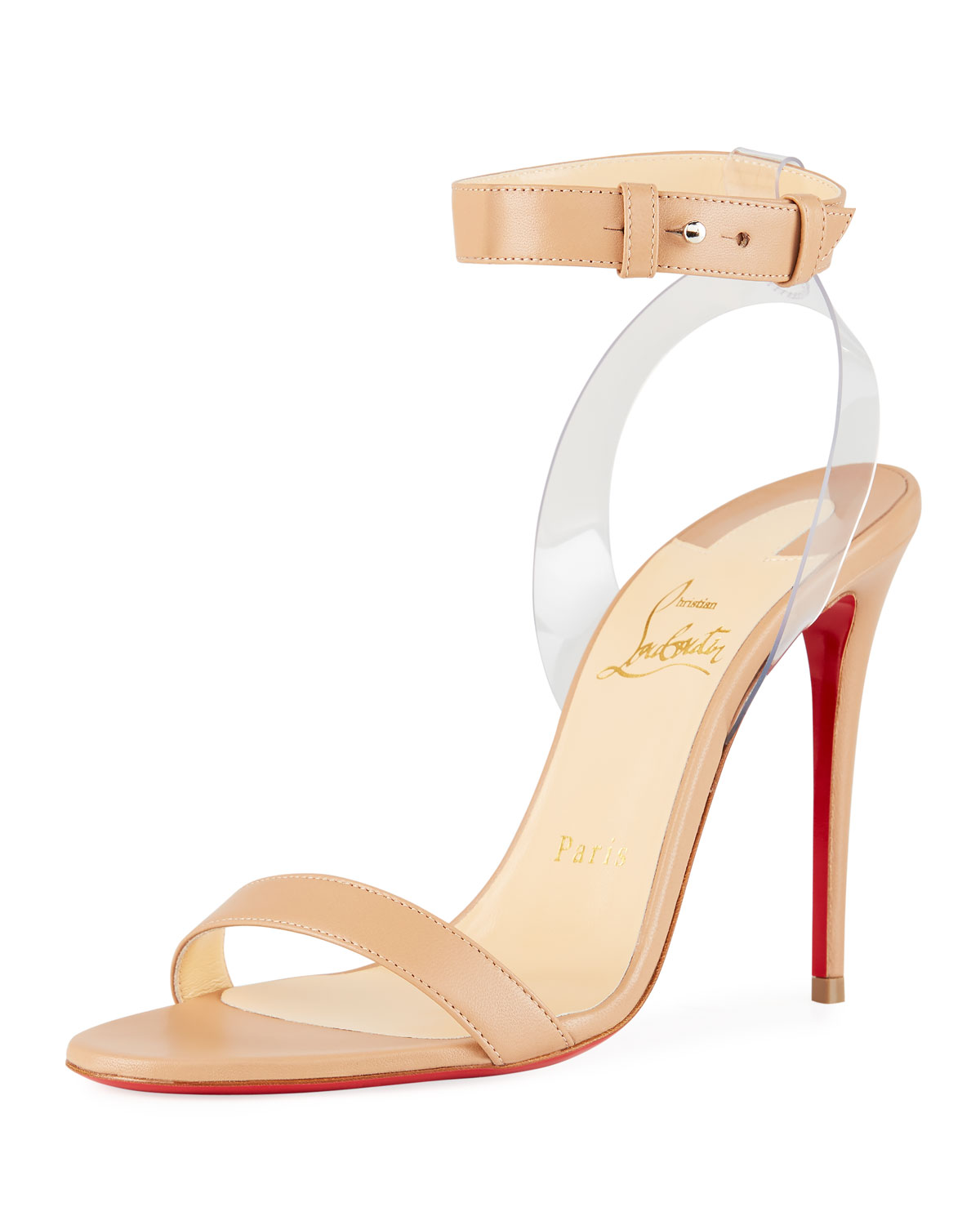 9157b0857c3e Christian Louboutin Jonatina Illusion Ankle-Strap Red Sole Sandals In  Neutral