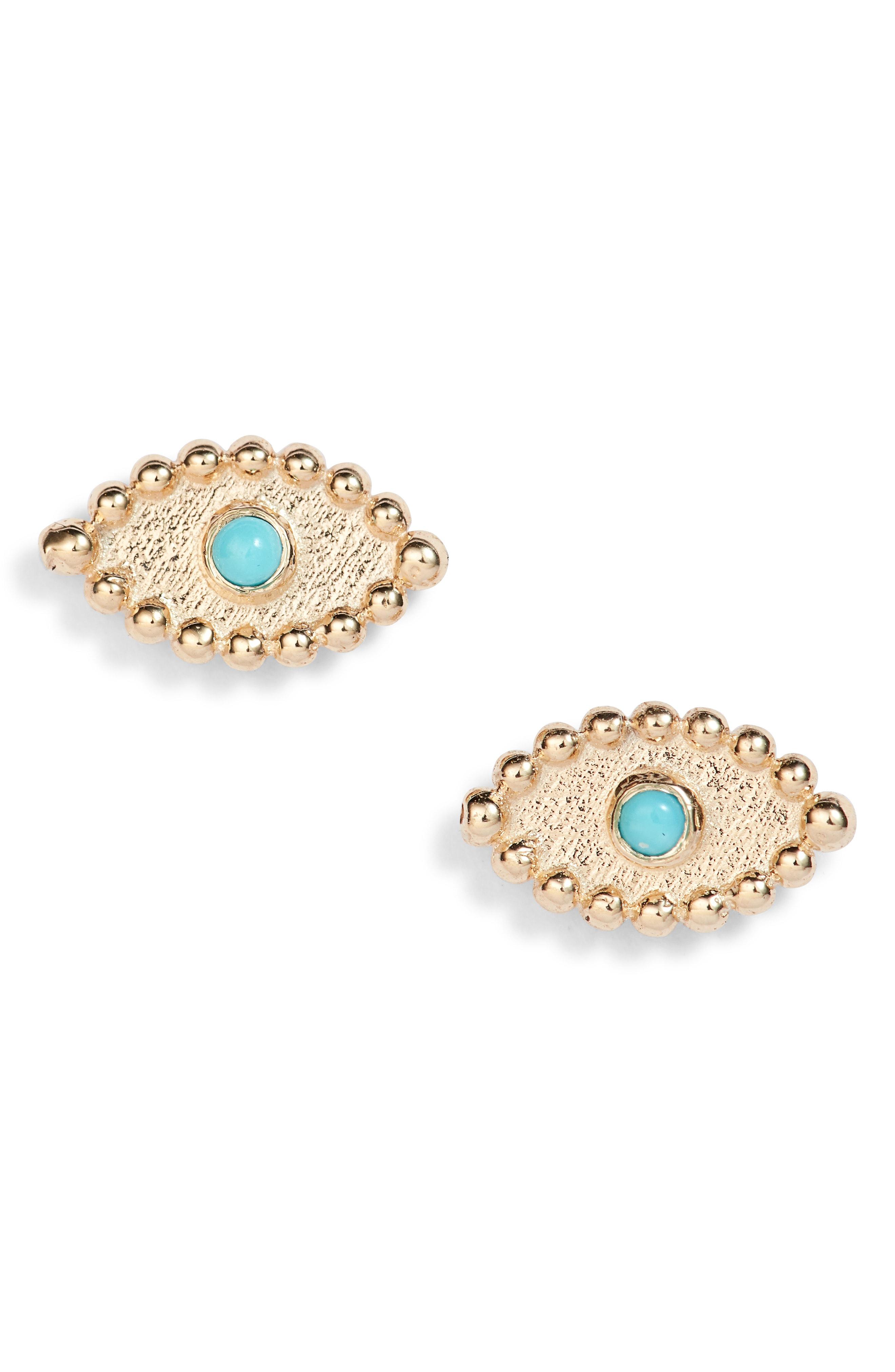 Anzie Dew Drop Turquoise Evil Eye Stud Earrings In Gold