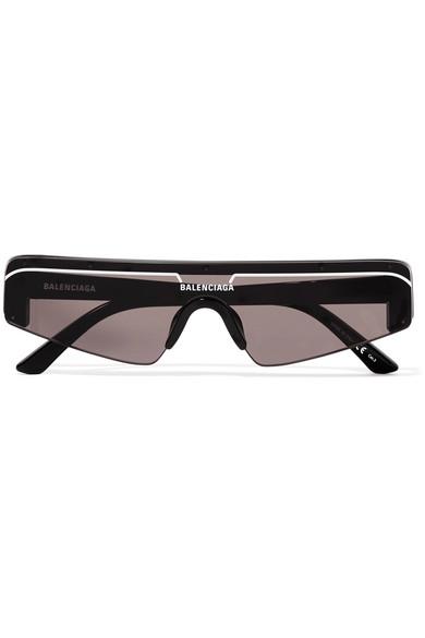 Balenciaga Women's Rectangular Shield Sunglasses, 99Mm In Black