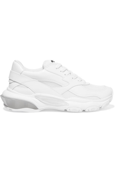 Valentino 'Bounce' Chunky Outsole Mesh Panel Leather Sneakers In White