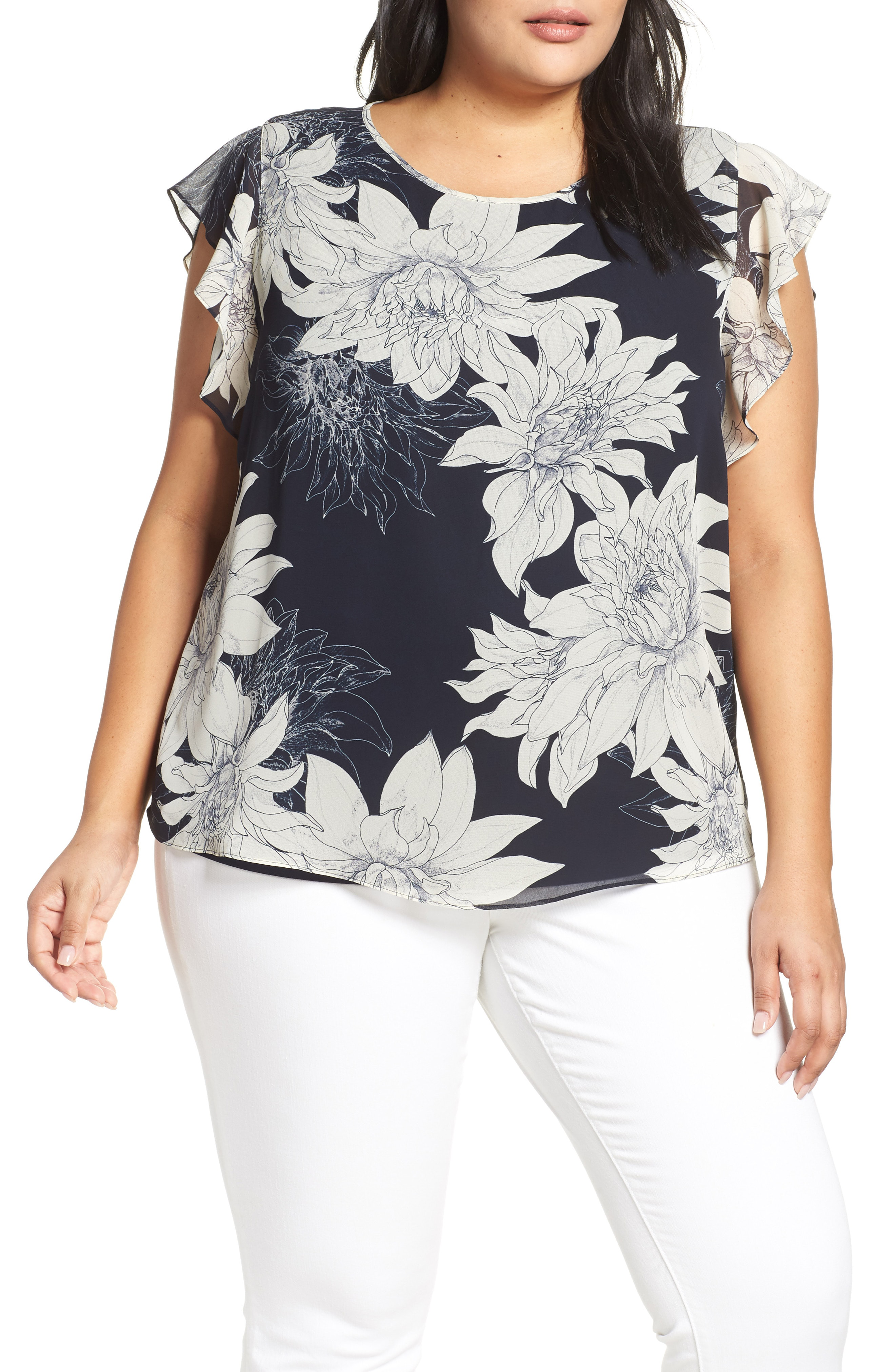 50b4682969 Vince Camuto Pagoda Blossoms Flutter Sleeve Blouse In Classic Navy ...