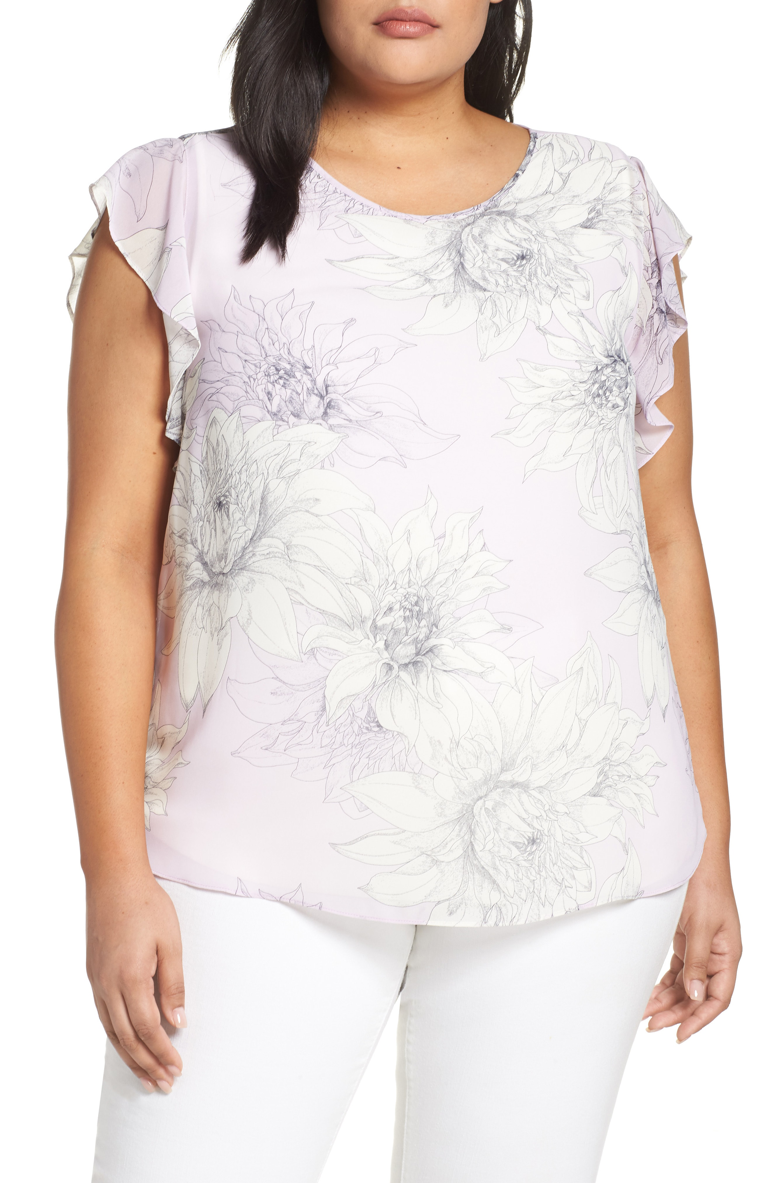 2769ed285a Vince Camuto Pagoda Blossoms Flutter Sleeve Blouse In Fresh Lilac ...