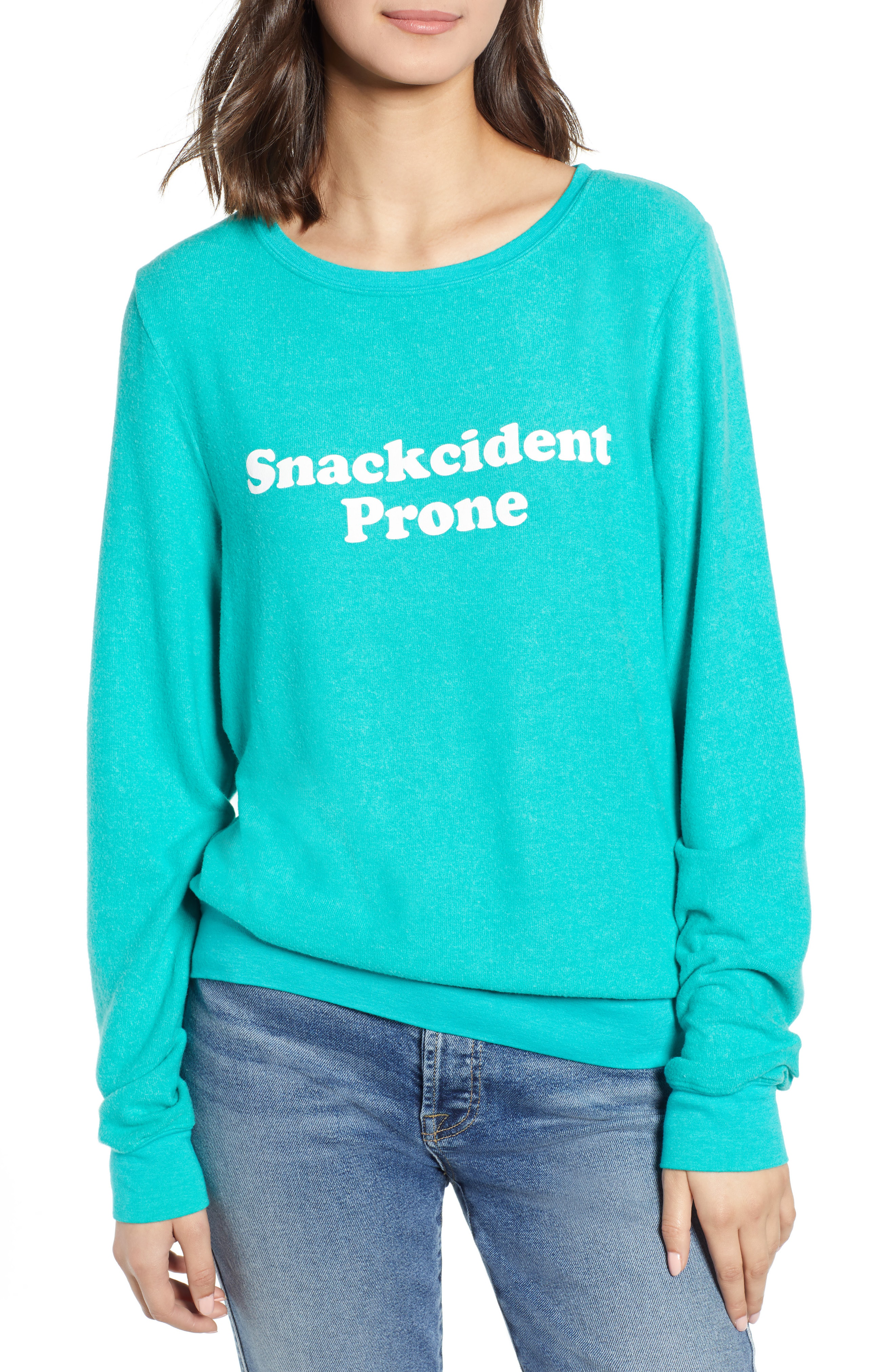 2198c1b9c7 Wildfox Baggy Beach Jumper - Snackcident Prone Pullover In Emerald Green