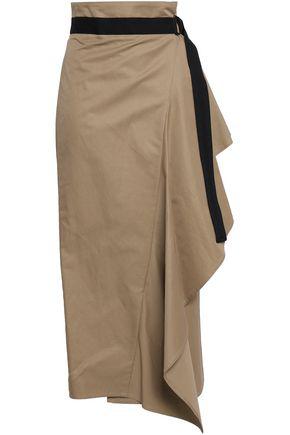 Brunello Cucinelli Woman Draped Cotton-blend Midi Wrap Skirt Sand