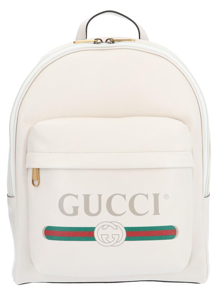 32465306792a Gucci Men's Vintage Logo-Print Leather Backpack, White | ModeSens