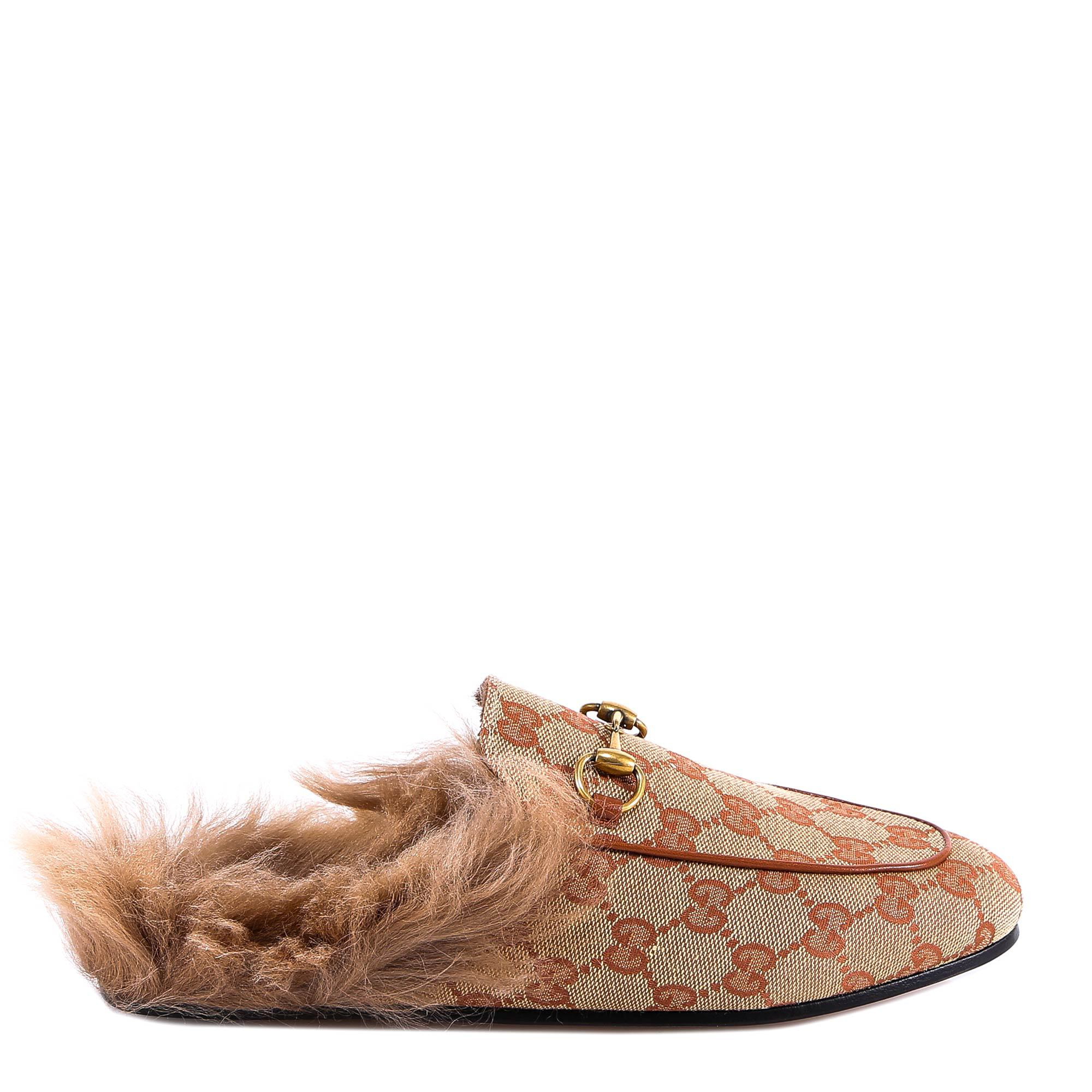 dbd8fc2fa4f Gucci Princetown Canvas Slippers - Med. Brown