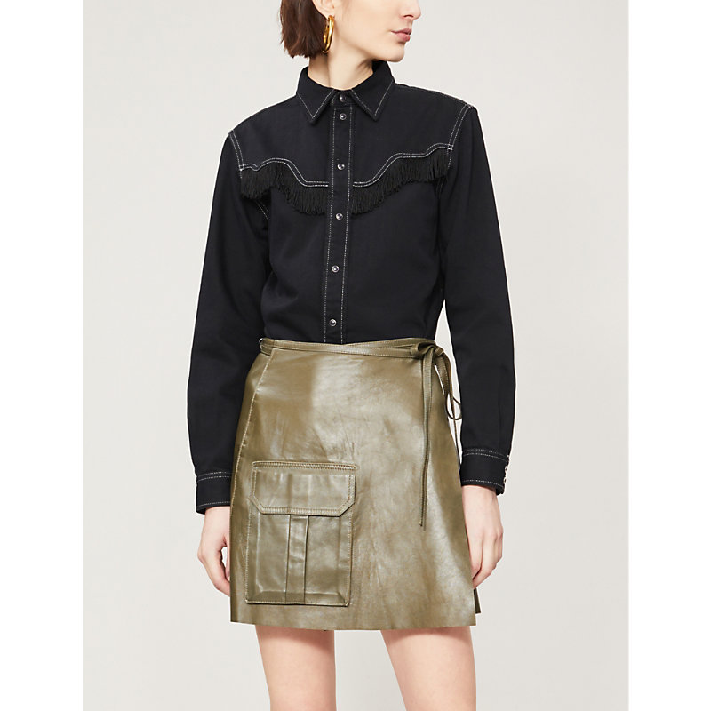 a10fd813610a Ganni Meranti Flap Pocket Tie-Waist Leather A-Line Skirt In Army Green