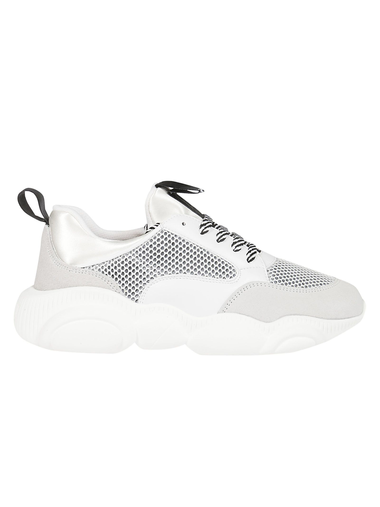 8dcbfb40a7 Moschino Teddy Run Sneakers In Mesh, Calfskin And Split Leather In 10A White