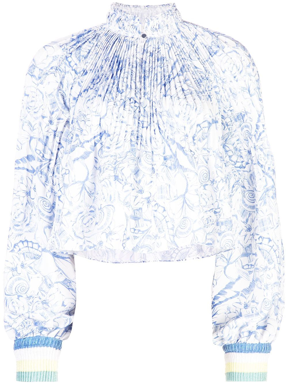 47d5387968683 Tibi Isa Toile Pleated Cropped Blouse With Ribbed Cuffs In White ...