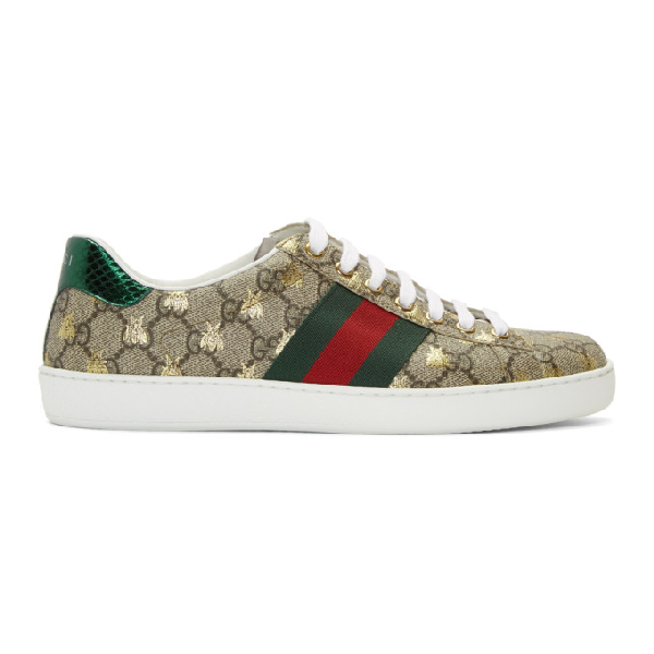 Gucci Women's Ace Gg Supreme Sneaker With Bees In 8465 Beige