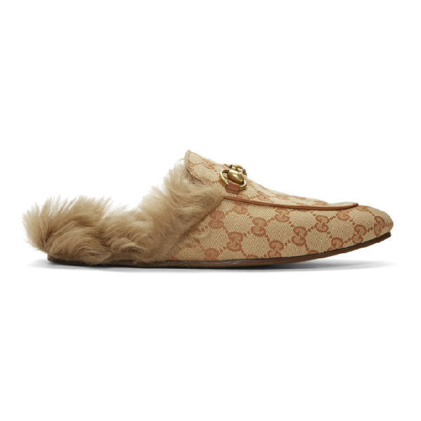 Gucci Princetown Double G Loafer Mule With Genuine Shearling In Med.Brown