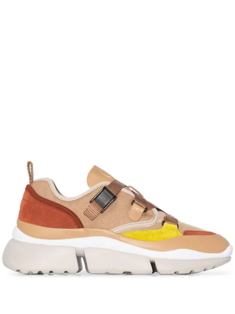 ChloÉ Sonnie Raised-Sole Low-Top Trainers In Neutrals