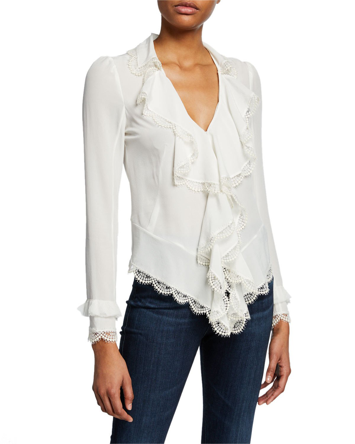 ff2ff101b155d Alexis Phineas V-Neck Long-Sleeve Silk Ruffle Blouse With Lace In Ivory