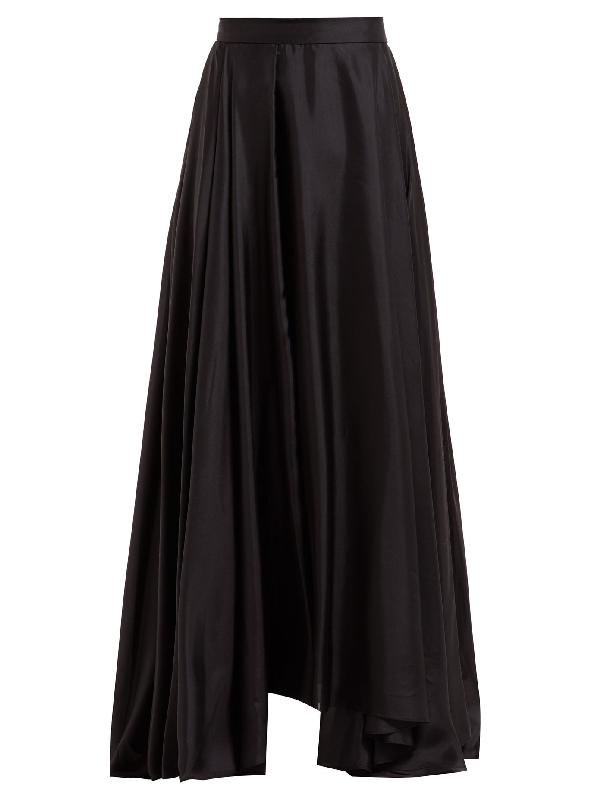 Prada Asymmetric-hem Silk-habotai Maxi Skirt In Black